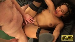 Naughty Bigtits UK bride rewarded with big facial Thumb
