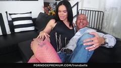Cute Latina trans chick gets cum on ass Thumb