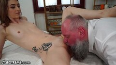 Grandpa Services Teen with Mouth and Dick Thumb