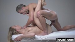 Dirty  blonde gets covered in cum after her massage Thumb