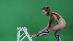 Hot Young Brunette Gymnast Anna Mostik Spreading Legs Thumb