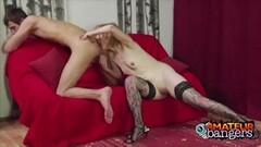 Gorgeous brunette Izzy Bell deepthroats a huge dick Thumb