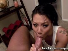 Asa Akira POV Deep Throat Blow Job and Swallow Thumb