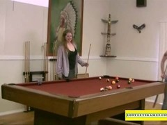 Amateur girls playing strip pool Thumb