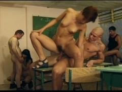 Wild classroom orgy ends in multi-facials Thumb