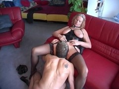 Leather bang leads to cum on boobs Thumb
