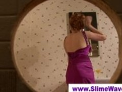 Redhead lady takes gloryhole facial Thumb