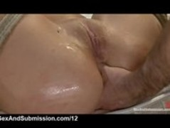 Babe bound to bed frame anally fucked by big cocked guy with cond Thumb