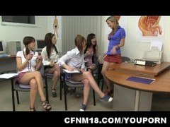 Unforgettable CFNM anatomy class with five cock-starved schoolgirls Thumb