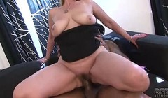 Hairy pussy granny gets interracial fucked by big black cock Thumb