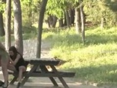 Busty blonde sex slave made to fuck outdoor in public sex by sa Thumb