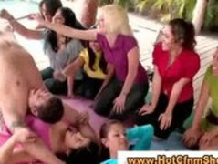 Real cfnm babes give guys a handjob in reality gangbang Thumb