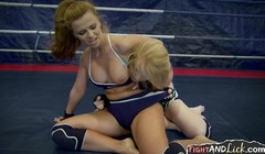 Anally fingered babe loses wrestling match against lesbian be Thumb