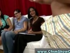 Three amateur chicks interview lucky CFNM guy Thumb
