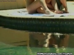 Voyeur and poolside threesome Thumb