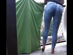 How we make video Desperate Pee in Jeans on balcony in centrum City Thumb