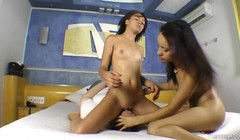 Lesbian Game on Guy's Face - Fat guy and Two Naughty Girls Thumb