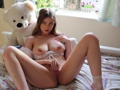 HOT BRUNETTE TEEN PLAYS WITH HER TIGHT LITTLE PUSSY Thumb