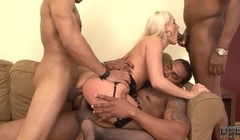 Horny blonde interracial anal gandbang she swallows cum Thumb