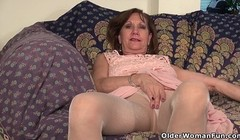 American gilf Penny teases you and her nyloned pussy Thumb