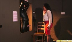Cfnm wanks restrained sub before swapping Thumb