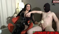 German big tits latex Domina give femdom handjob big cumshot Thumb