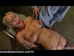 Strapped huge tits blonde mouth fucked and vibed Thumb