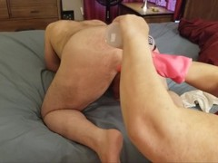 Mistress uses her pink gloves to destroy her roommate's ass Thumb