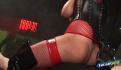 Brunette with big boobs takes a ride with tied up sex slave Thumb