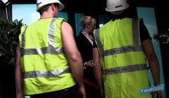 Two blonde babes get banged by two horny construction workers Thumb