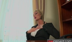 Classy business lady toys pussy in her office during a lunch Thumb
