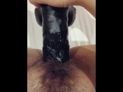 Creamy pussy with big black dildo Thumb
