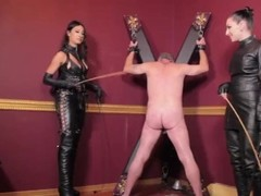 Mistress Tangent & Cybill Troy caning a slave Thumb