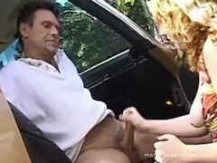 Cute blonde amateur giving a handjob in a car Thumb