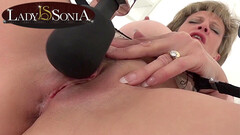 Lady Sonia edging her clit with a vibrator Thumb