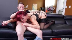 PORNSTARPLATINUM Redhead MILF Sexy Vanessa Blows Young Stud Thumb