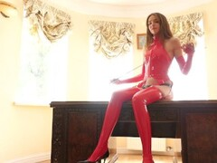 young mistress tease shiny latex corset panties stockings whip leash Thumb